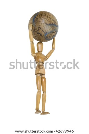 Wooden model carrying the world on his shoulders - path included - stock photo