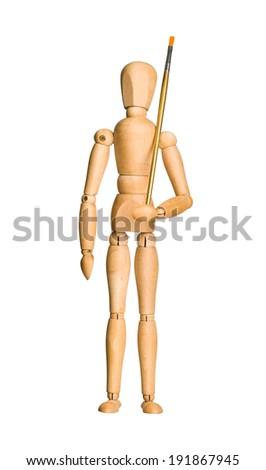 Wooden model dummy holding brush, isolated on white. Artist concept. - stock photo