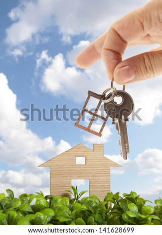 Wooden model house in green field - stock photo