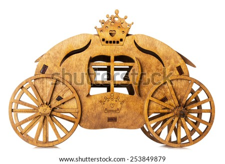 wooden model of carriage isolated on the white background