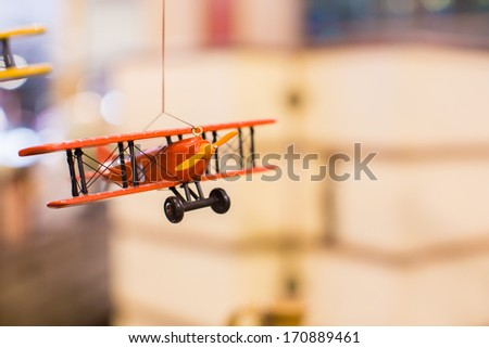 Wooden model of old airplane - stock photo