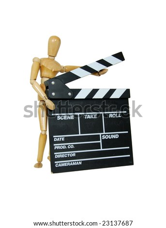 Wooden model representing a person holding a black and white movie marker board