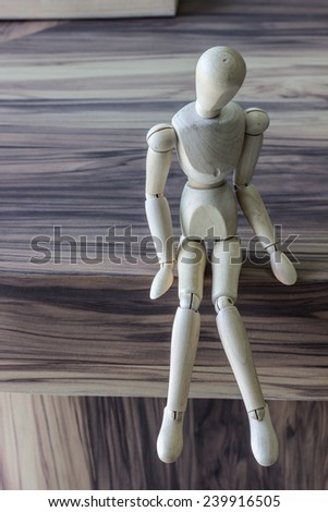 wooden model The model is intended to take the timber with dimensions of the image. In order to convey the emotions. - stock photo