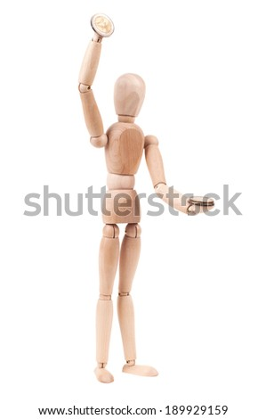 Wooden model with money. Isolated on white background - stock photo