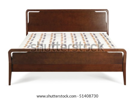 wooden modern bed - stock photo