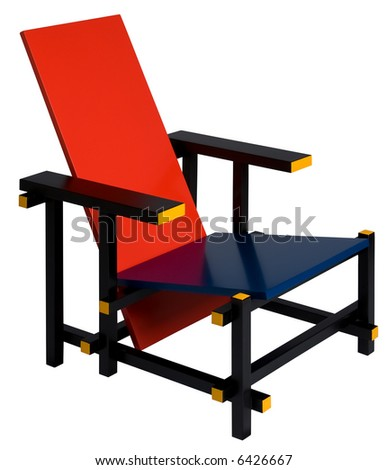 Wooden Mondrian-style chair