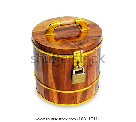 Wooden money box - stock photo