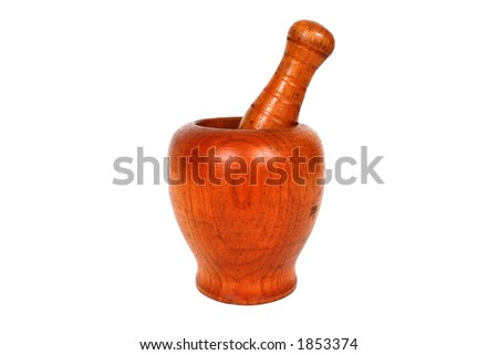 Wooden Mortar and pestle with clipping path - stock photo