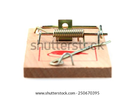 wooden mouse trap isolated on the white background - stock photo