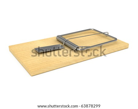 Wooden mousetrap over white background