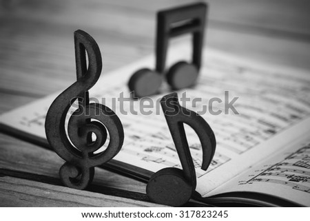 Wooden music notes and a vintage sheet music from 19th century on a wooden desk.  - stock photo