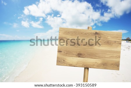 Wooden nameboard on beach. Sea and sky at background. Concept of information. Mock up. 3D render - stock photo