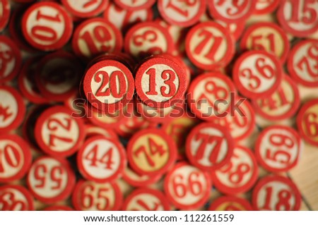 Wooden  numbers, random choice. 2013 on focus - stock photo