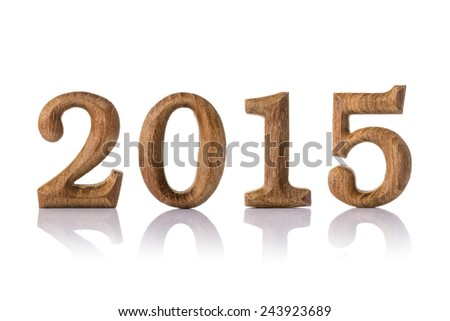 wooden numeric with shadow isolated on white background, number 2015 happy new year. - stock photo