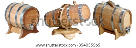 Wooden oak barrel with a lid and iron rims on a white background souvenir                               - stock photo