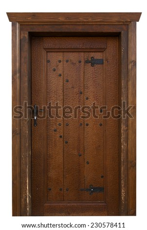 wooden oak door with metal hinges and nails - stock photo