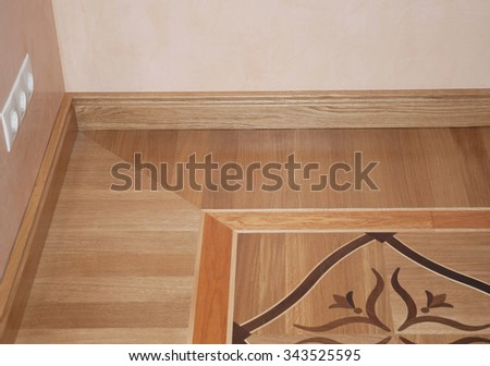 Wooden Oak Parquet Floor Texture Background. Closeup On Baseboard Oak Wood  Parquet Flooring