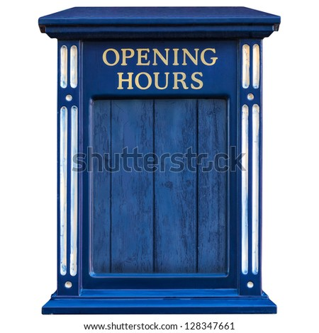 Wooden old blue opening hours sign isolated on a white background - stock photo