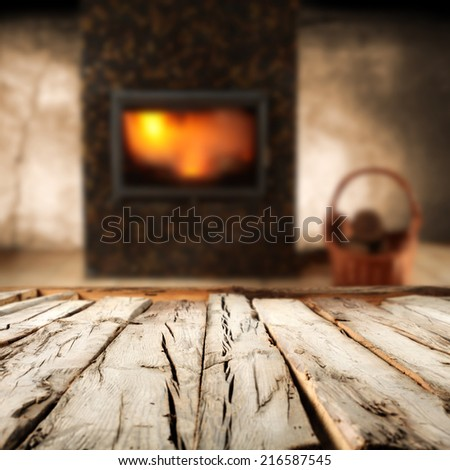 wooden old table and fire