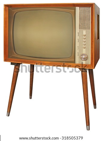 Wooden Old television isolated with clipping path