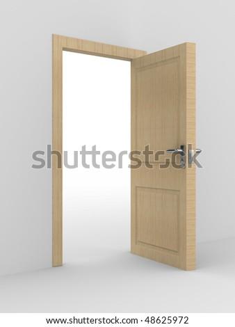 wooden open door. 3D image. home interior - stock photo