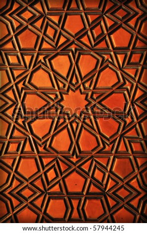 Wooden oriental background - stock photo