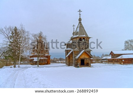 Wooden Orthodox churches in the Suzdal, Russia.  - stock photo