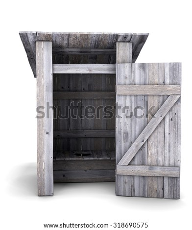 Wooden outdoor toilet isolated on white background. Front view. 3d render image