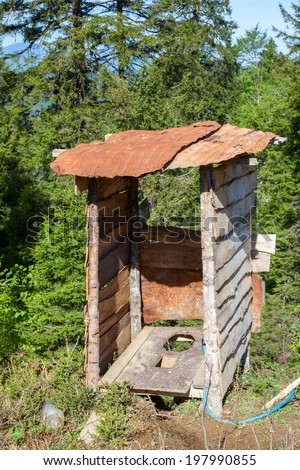 Wooden outhouse at mountains in Northern Turkey - stock photo
