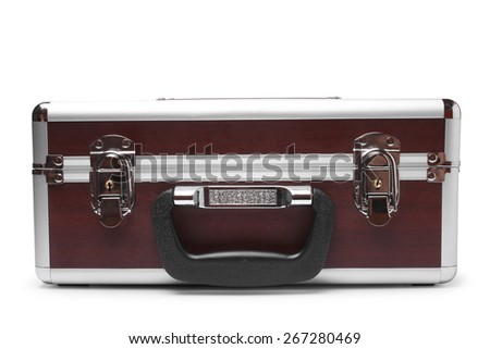 Wooden padded aluminum briefcase on white background - stock photo