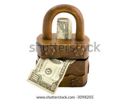 wooden padlock money box isolated on white showing one dollar in 10 dollars out - stock photo