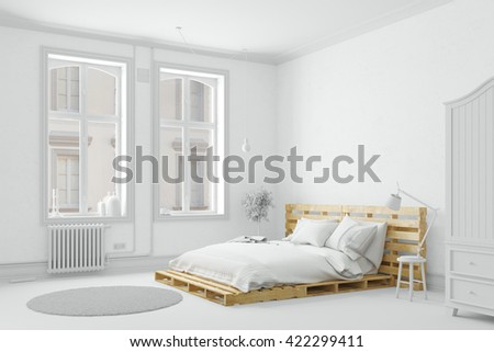 Wooden palette bed in a white bedroom (3D Rendering) - stock photo