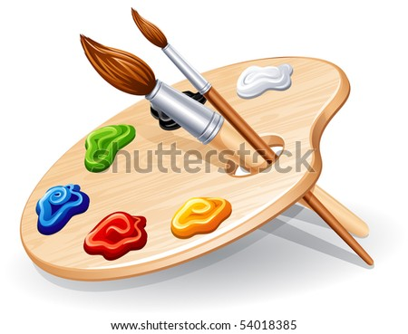 Wooden palette with paints and brushes - raster version - stock photo