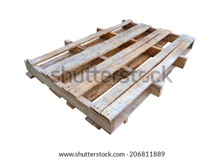 wooden pallet isolated on white background - stock photo