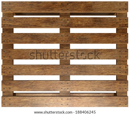 Wooden pallet. Isolated on white background. 3d - stock photo