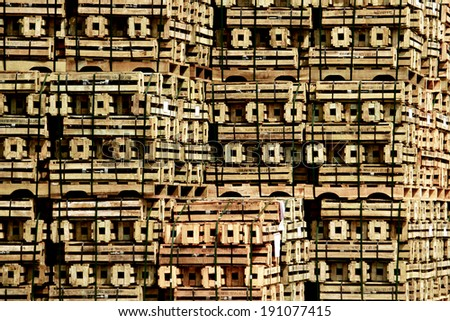 Wooden pallet of electrical insulator - stock photo