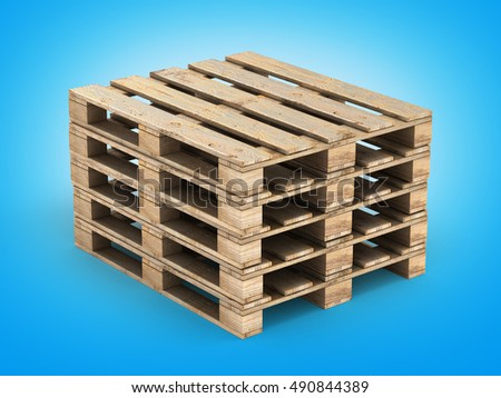 Wooden pallet on blue gradient background 3D illustration