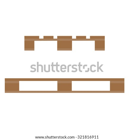 Wooden pallet raster illustration. Wooden stock icon. Pallet side and front view - stock photo