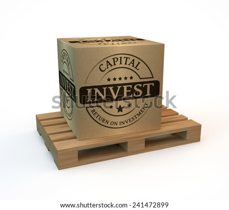 Wooden pallet with a package invest - stock photo