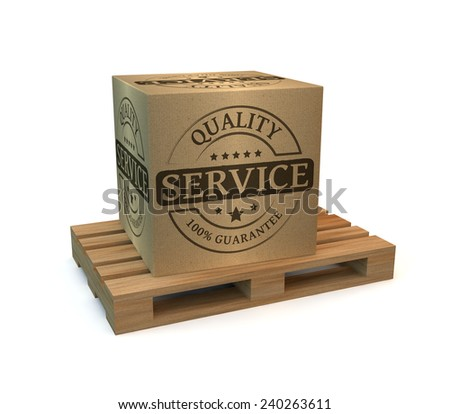 Wooden pallet with a package service - stock photo