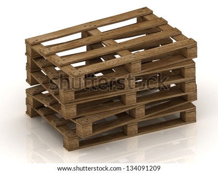 Wooden pallets stacked pile with protruding nails