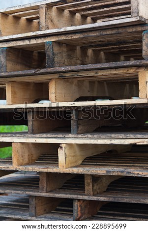 Wooden pallets that are important in the transport of goods. And production - stock photo