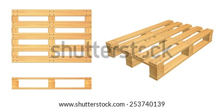 Wooden pallets top view, side view and perspective - stock photo