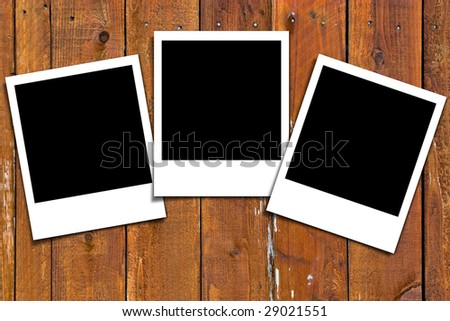 Wooden Panel Background with empty pictures