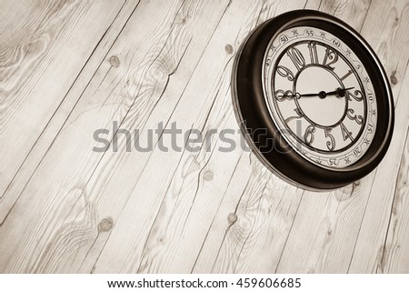 Wooden panel plank vintage style with clock stuck wall. Brown wood texture. Desk nature pattern background. Dark table top floor. Beech stage hardwood. Home design. Timber surface vintage for staging. - stock photo