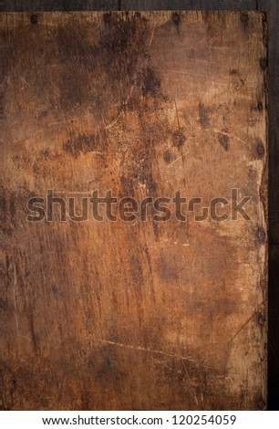 Wooden Panel with the Hammered Nails on the Edge - stock photo