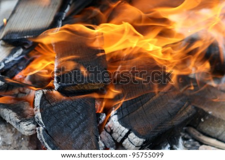 Wooden panels in the fire