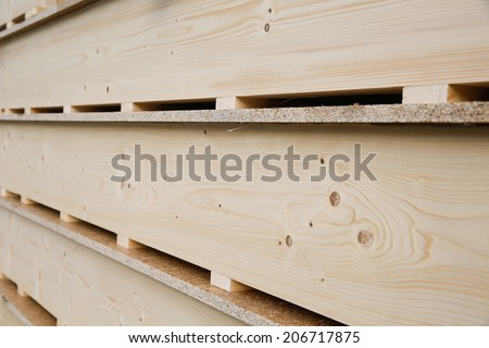 Wooden panels prepared for building and installation - stock photo