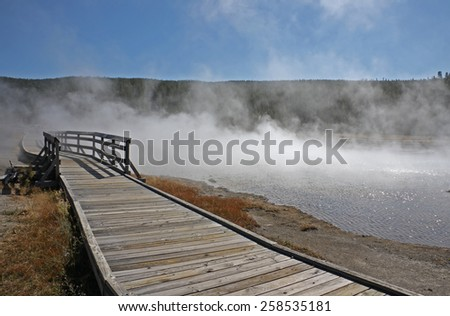 Wooden path at hot spring (Yellowstone)