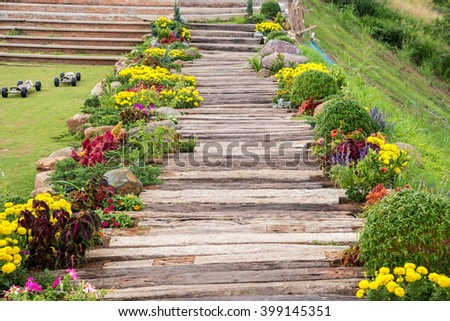 wooden path in garden - stock photo